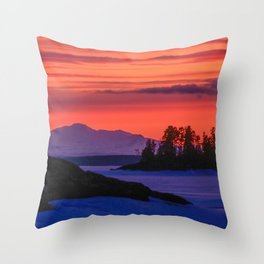 Sunset in winter with red sky Throw Pillow
