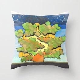 Starry Sky at Night Tree House 25 Throw Pillow