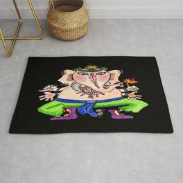 Beloved Ganesha, black Rug