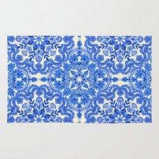 Cobalt Blue & China White Folk Art Pattern Rug