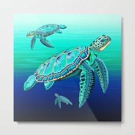Sea Turtle Turquoise Oceanlife Metal Print