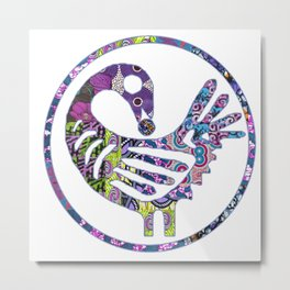Purple Sankofa Bird Metal Print