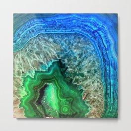 Turquoise Green Agate Mineral Gemstone Metal Print