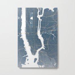 New York City - Detailed Road & Subway Map Metal Print