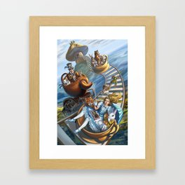 Steampunk Alice in Wonderland Teacups Framed Art Print