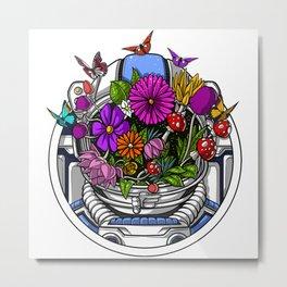 Astronaut Hippie Flowers Metal Print