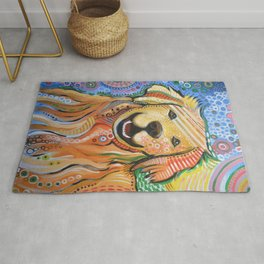 Max ... Abstract dog art, Golden Retriever, Original animal painting Rug