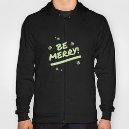 Bright Lime Green Be Merry Christmas Snowflakes Hoody