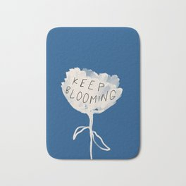 "Classic Blue and White Abstract Flower and Quote ""Keep Blooming"" Bath Mat"