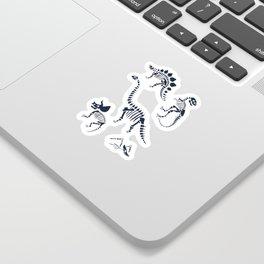 Dinosaur Fossils on Black Sticker