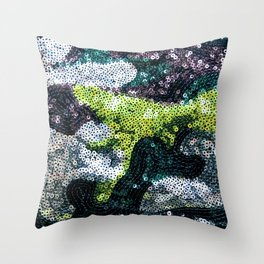 Glam Sequined Camo Throw Pillow