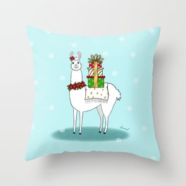 Llama Say How Much I Love The Holidays Throw Pillow