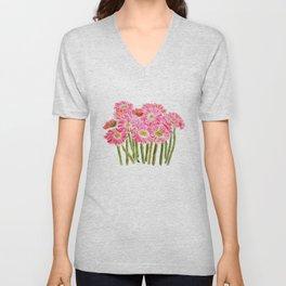 Pink Gerbera Daisy watercolor Unisex V-Neck
