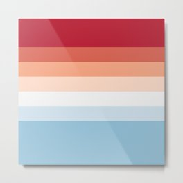 7 Colorful Classic Retro Summer Stripes Iosheka Metal Print