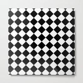 Rhombus (Black & White Pattern) Metal Print