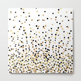 Floating Dots - Black and Gold on White Metal Print