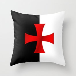 Dual color knights templar red cross Throw Pillow
