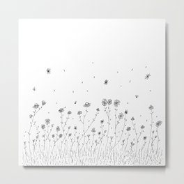 Daisy Flowers Ink Illustration Art Metal Print