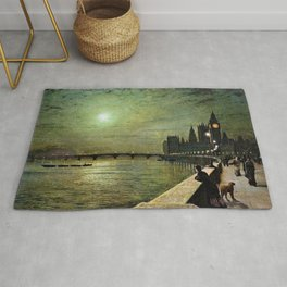 Reflections on the Thames River, London by John Atkinson Grimshaw Rug