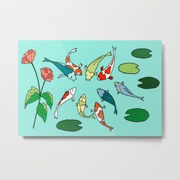Koi Fish Meeting Metal Print