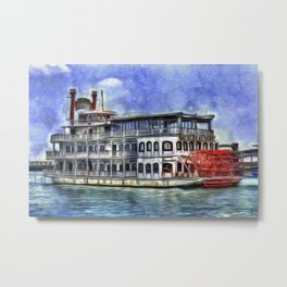 New Orleans Paddle Steamer Van Goth Metal Print