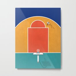 Shoot Hoops | Aerial Illustration Metal Print