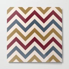 Funky Zigzag Pattern Gold Red Blue Cream Metal Print
