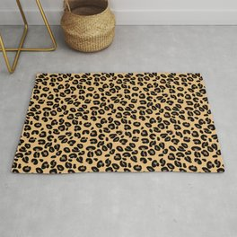 Classic Black and Yellow / Brown Leopard Spots Animal Print Pattern Rug