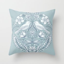 Modern folk art birds and flowers in white and blue Throw Pillow