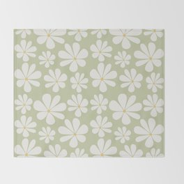 Floral Daisy Pattern - Green Throw Blanket