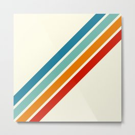 Alator - Classic 70s Retro Summer Stripes Metal Print
