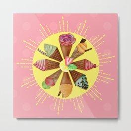Summer Sun Ice Cream Cones Metal Print