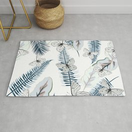Tropical vector illustration with palm leaves and butterlfies Rug