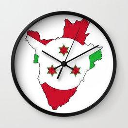 Burundi Map with Burundian Flag Wall Clock