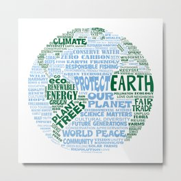 Protect Earth Word Bubble Metal Print