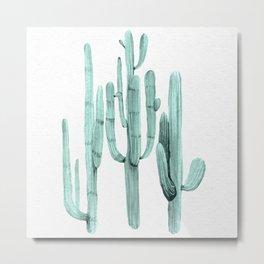Turquoise Cactus Watercolor Painting Metal Print