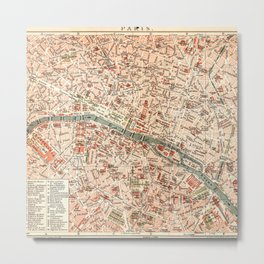 Vintage Map of Paris Metal Print