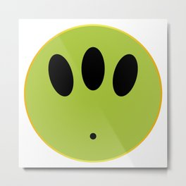 Alien Smile Face Button Isolated Metal Print