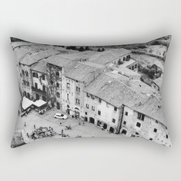 Italian streets | The square of San Gimignano, Italy | Analog photography black and white | Art Print Rectangular Pillow