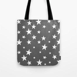 Hand-Drawn Stars (White & Grey Pattern) Tote Bag
