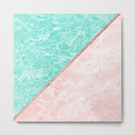 Turquoise teal pink rose gold geometrical marble Metal Print