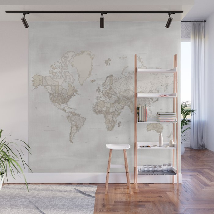 """Rustic and highly detailed world map with cities, square, """"Lucille"""" Wall Mural"""