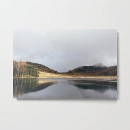 Low cloud and reflections on Blea Tarn. Cumbria, UK. Metal Print