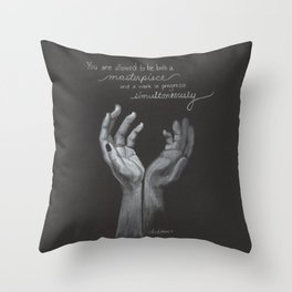 Simultaneous Masterpiece and Work In Progress Throw Pillow