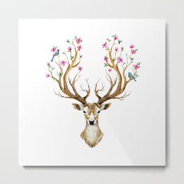 Lovely deer with big antlers, flowers and birds on the horns, branches cherry flowering plant. Watercolor illustration hand paited  Metal Print