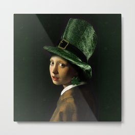 Girl With A Clover Earring Metal Print