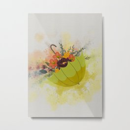 Autmn Floral Umbrella Metal Print