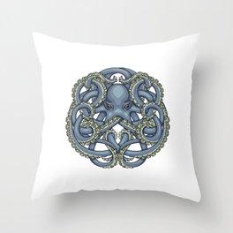Octopus Emblem Blue Throw Pillow