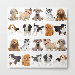 Fluffy Puppy Dog Kids Pattern Metal Print