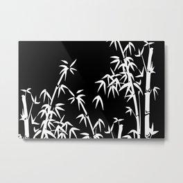 Bamboo Leaves White - black background Metal Print